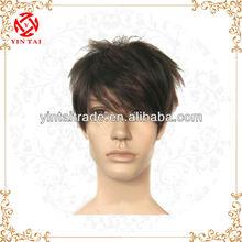 2015 Hot Selling fashion short black men' wig look handsome men's toupee