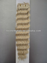 white color deep wave 100% remy human hair extensions weft