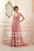 2014 fashion beaded straps princess sweetheart floor-length pink evening gown 2015 cheap evening dinner dress chiffon hot sale
