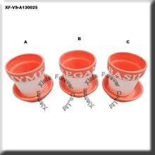 decal ceramic garden planter w base