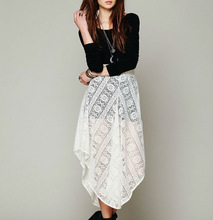 Newest style Lace Asymmetrical long Skirt SKI5