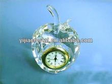 Apple shape crystal clock for room des decoration