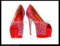 sexy de gran tamaño hasta 12 peep toe de cristal parte de las mujeres del alto talón zapatos de plataforma