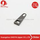 Customized zipper slider puller ,shinning gun metal color 3.75g zip pull