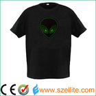 2014 hot sale sound effect round neck led light shirt