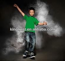 Children fashion design cotton green plain t-shirt