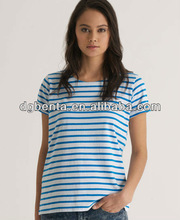 Women's nautical striped t-shirt witha wide crew neck and featuring rolled sleeves and embroidered hem logo