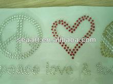 hot fix rhinestone peace heart sign transfer motif mass stock