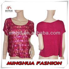 Fushia Lace Striped Sequin Evening Plus Size Tunic Tops