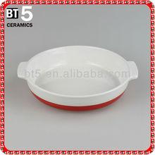 Ceramic 11inch red and white round cake bakeware