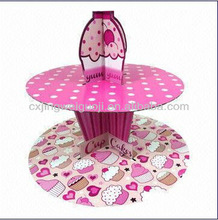 teatime/bookclub/party/school recyclable decorative 2 tiers/multi-layer paper cupcake stand/holder