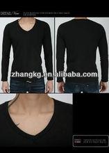 V neck t shirt,black v-neck tee shirts ,black fashion v-neck t-shirts factory
