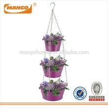 Garden Metal Hanging Flower Pot with Metal Chains