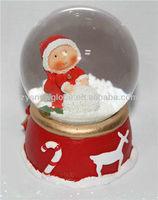 Resin christmas lighted snow globe