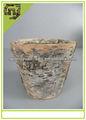 Casca de bétula plantador de madeira natural vaso de flores para decoração