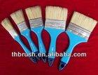 White bristle paint brush with blue plastic handle