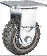 The 5 inch Heavy duty polyurethane the fixed castor, with PU wheel PP center, ball bearing