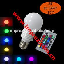 Hot sell! E14 E27 24key remote controller 3W RGB led bulb light/rgb led bulb lamp