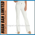nouveau style jeans blanc broderie conçu jeans pour dames pompis colar