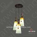 3 luzes de vidro lâmpada pendente para decoração de casa