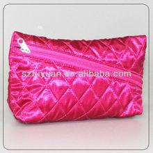 slant zip closure satin material quilt cosmetic bag
