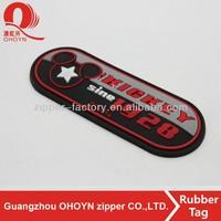 No.215A0807 Cartoon logo black soft rubber label with garment label manufacturers