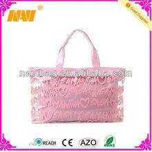 pink color pvc Ladies fashion tote beach bag