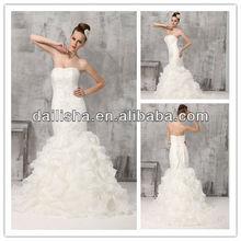 D0001 Top-quality Luxury Beaded Organza Mermaid Bride Wedding Dress