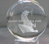 elegant round K9 crystal laser ball Constellations zodic sign tiger terrarium crystal laser ball