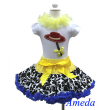 Halloween Cowgirl Pettiskirt Red Hat White Short Sleeves Top 2pcs Party Dress 1-7Y