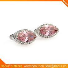 Luxury Pink Crystal Wedding Cufflinks ZB0464 - cufflinks supplier,custom wedding cufflinks with epoxy