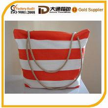 colorful stripe canvas shopping bag