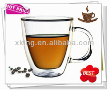 Hot sales heat resistant doulbe wall glass tea cup with FDA