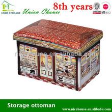 Chocolate house print storage ottomans and pouf