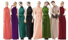 2013 Women's New Fashion Noble Stand Collar Sleeveless Chiffon Maxi Evening Dress (With Belt) SW13042009