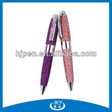 Beautiful Small Glitter Leather Twist Metal Ball Pen