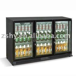 Undercounter black bar fridge with 3 glass door