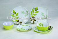 Wholesale outdoor 6pcs square shaped plastic melamine dinnerware sets