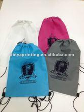 Customed CMYK silk printing non woven drawstring shoe bag