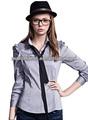 Nueva moda de las señoras de largo mangas abullonadas camisa de vestir, camisa de la mujer