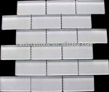 Glossy Brick Super White Glass Mosaic Tile