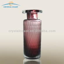 wholesale home decor frosted glassware flower vases; bohemia crystal violet cylinder glass vase