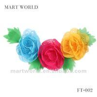 chiffon lace flower beautiful decorative corsage with leaves(MWF-001)