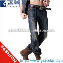 2014 Hotsale Latest Designer Brand Logo 100% Cotton Skinny Mens Jeans Brands (GKC0803)
