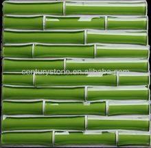 2013 New Design 3D Jade Green Bamboo Crystal Glass Mosaic