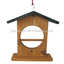 Portable Wooden Bird House Stand / Hanging Bird Feeder Cage