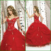 2013 New Model Real Made Beaded Lace Ball Gown Red Quinceanera Dresses