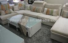 Sofá de canto moderno projetos/2013 estilo europeu moderno u- forma sofá moldura de madeira 8239