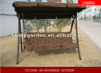 outdoor 3 seat metal garden swing bed / chair with canopy cushion