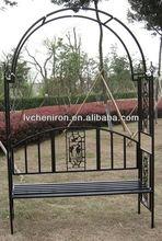 Decorative Iron garden arch with bench